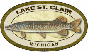 Lake St. Clair Northern Pike Michigan Sticker Fishing Decal Logo
