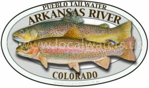 Arkansas River Pueblo Tailwater Sticker Rainbow Trout Decal Brown Trout Fishing Colorado logo