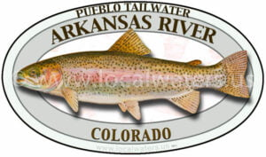 Arkansas River Pueblo Tailwater Rainbow Trout Fishing Sticker Decal Colorado logo